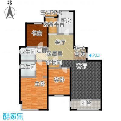 仁恒湖滨城176.00㎡C2-1三室两厅一厨两卫176平米户型3室2厅2卫