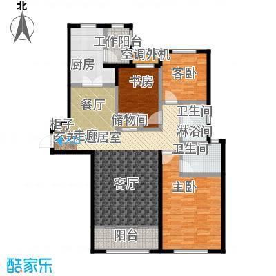 仁恒湖滨城140.00㎡B3三室两厅一厨两卫建筑面积140平米户型3室2厅2卫