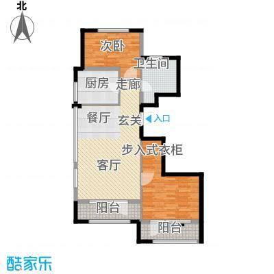 绿城理想之城户型2室1厅1卫1厨