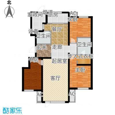 万科温莎堡A7三室两厅两卫142平米户型3室2厅2卫