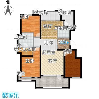 万科温莎堡A4三室两厅两卫143平米户型3室2厅2卫