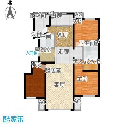万科温莎堡A3三室两厅两卫141平米户型3室2厅2卫