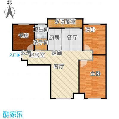 林凯城C2三室两厅一卫98㎡户型3室2厅1卫
