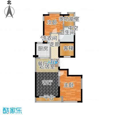 绿城南湖春晓102.00㎡A两室两厅一卫102平米户型2室2厅1卫