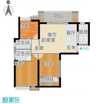 保利茉莉公馆116.00㎡三室两厅两卫 116平米户型3室2厅2卫