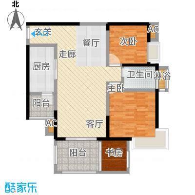 太东时尚岛I户型95.13平米户型3室2厅1卫S