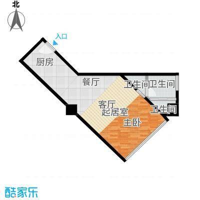 逸景湾54.70㎡1号楼54平米1室户型1室1厅1卫