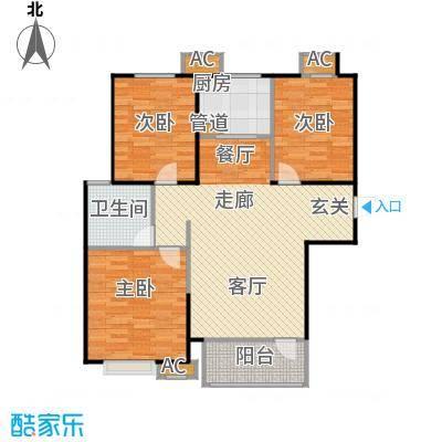 �阳新城两室两厅一卫一厨127.00平米户型