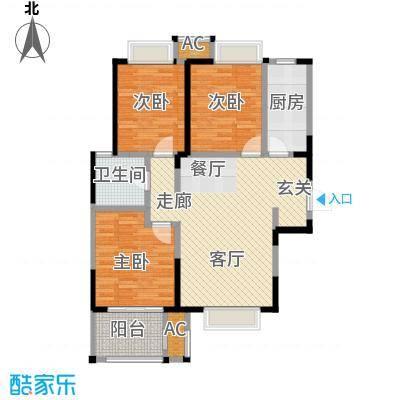 荣盛云龙观邸7号B中户户型建筑面积约108㎡户型LL