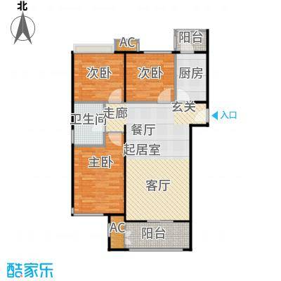 鼎盛新城G户型三室两厅一卫户型3室2厅1卫