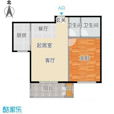 鼎盛新城F户型一室两厅一卫户型1室2厅1卫