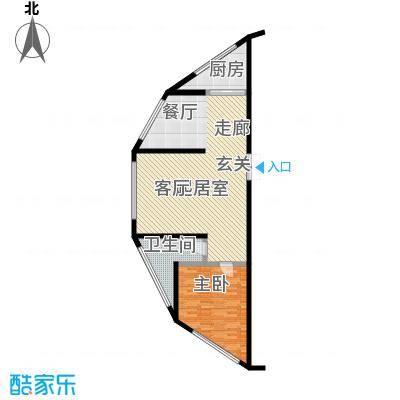 金沙国际107.71㎡悦心之海户型2室1厅1卫