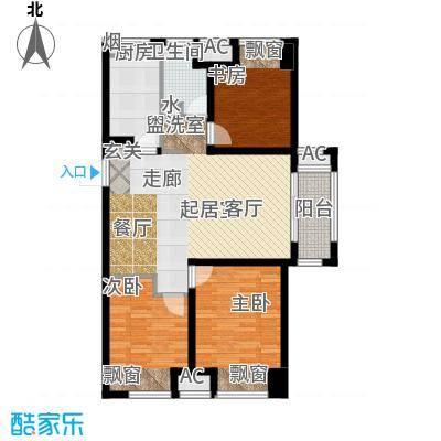 万科城万科城高层A-4户型3室2厅1卫 94.00㎡户型