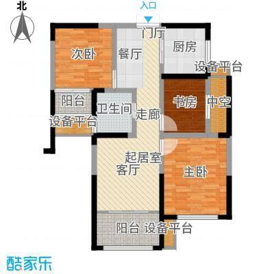中南世纪城95.00㎡温情时光I户型 95平米三房户型3室2厅1卫