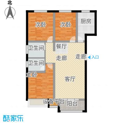 金港花园119.65㎡13#G3户型 3室2厅2卫 119.65平户型3室2厅2卫