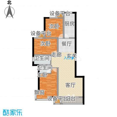 金港花园122.18㎡13#G1户型 3室2厅2卫 122.18平户型3室2厅2卫