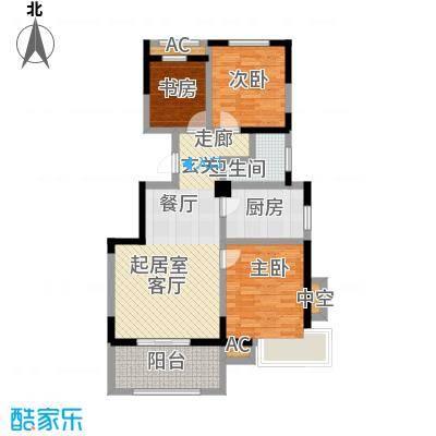 学府华园H户型90㎡三室二厅一卫户型3室2厅1卫-T