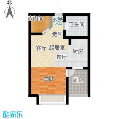 学府华园B2户型55㎡小两室户型2室1厅1卫
