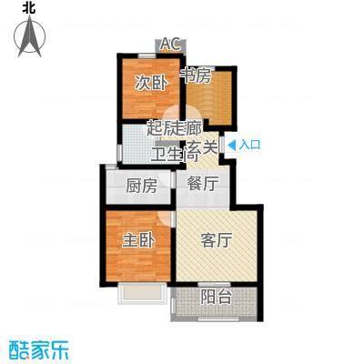 学府华园85.94㎡浪漫逸居户型3室2厅1卫-T