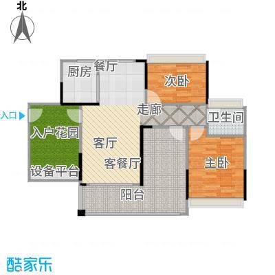 德丰凯旋城89.12㎡D4户型89.12平米2房2厅1卫户型2室2厅1卫