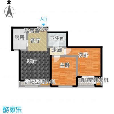 天承锦绣85.00㎡E-2户型2室2厅1卫