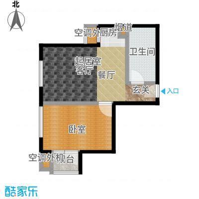 天承锦绣58.15㎡G-2户型1室2厅1卫