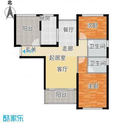 中科苑113.00㎡113平米两房户型2室2厅2卫