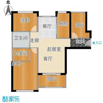 中科苑15#B4户型 两房两厅两卫户型2室2厅2卫