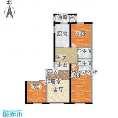 华鸿国际中心三室两厅两卫 使用面积108平米户型3室2厅2卫