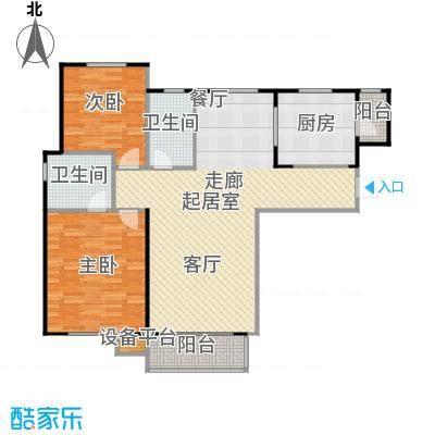 哈西万达广场103.00㎡B户型2室2厅2卫建筑面积103-108平方米户型2室2厅2卫