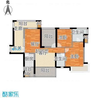 金沙世纪城110.66㎡2+1房2厅2卫户型2室2厅2卫