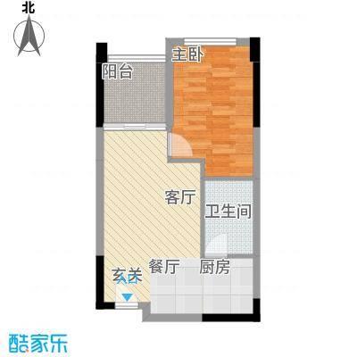 翡翠山58.84㎡B户型 1房2厅1卫户型1室2厅1卫