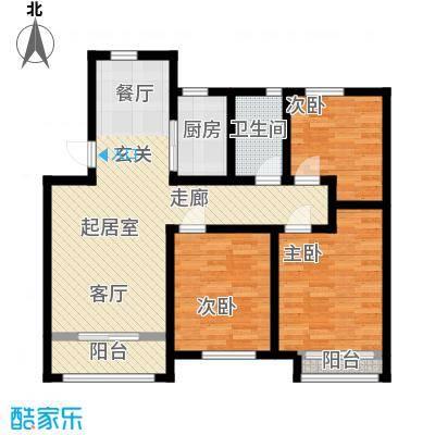 五洲太阳城-T户型3室1卫1厨