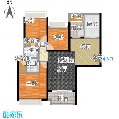 海伦堡爱ME城市96.00㎡05三房两厅两卫约96平米户型3室2厅2卫