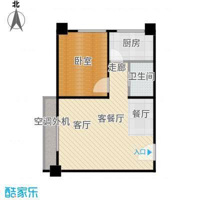 九嘉海港城B2座 A户型 54.86㎡户型1室1厅1卫