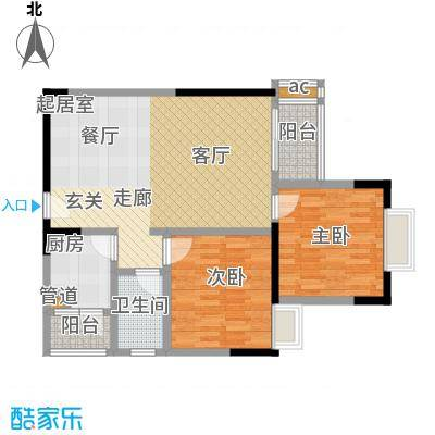 2008新长江广场80.00㎡房型: 二房; 面积段: 80 -90 平方米;户型