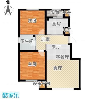 绿地国际花都87.00㎡绿地国际花都D户型户型图2室2厅1卫1厨 87.00㎡户型2室2厅1卫