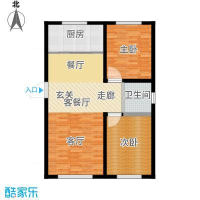 万家翔悦82.47㎡B-2户型2室2厅1卫