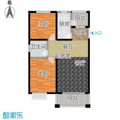 丽阳兰庭93.71㎡户型F1 两室两厅一卫两阳台 建筑面积约:93.71㎡户型2室2厅1卫