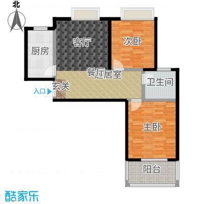 丽阳兰庭82.00㎡户型D3 两室两厅一卫 建筑面积约:82㎡户型2室2厅1卫