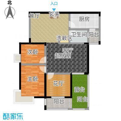 丽阳兰庭103.90㎡户型B2 两室两厅一卫+花厅+露台 建筑面积约:103.9㎡户型2室2厅1卫