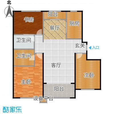 中海雍景熙岸130.00㎡三室两厅一卫 使用面积91平米户型3室2厅1卫