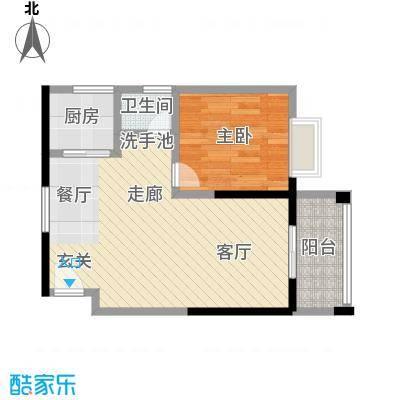 和瑞深圳青年二期55.69平米户型1室2厅1卫LL