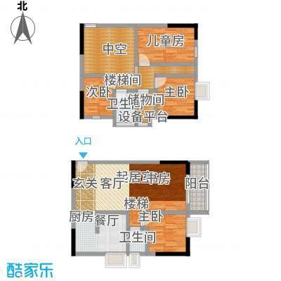 历昌华庭74.00㎡74平米复式户型2室2厅2卫