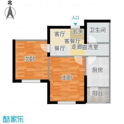 鼎力叶知林65.86㎡G户型,参考建筑面积约65.86平米户型2室1厅1卫