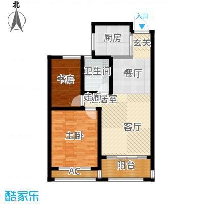 建滔裕景园82.00㎡E户型两室两厅一卫户型2室2厅1卫