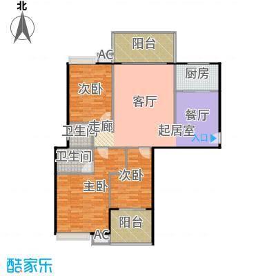 丽都中央公馆124.58㎡E1户型3室2厅2卫