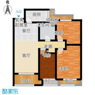 建滔裕景园110.00㎡C户型图三室两厅一卫户型3室2厅1卫