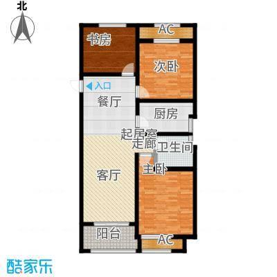 建滔裕景园114.00㎡A户型三室两厅一卫户型3室2厅1卫