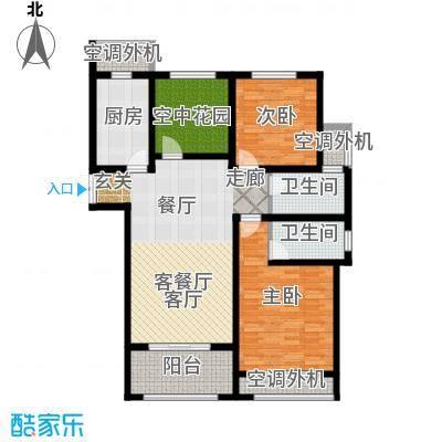 左岸尚海湾119.00㎡D户型 2+1房户型3室2厅2卫